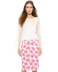 T-shirt à manche longue en dentelle blanc Nina Ricci