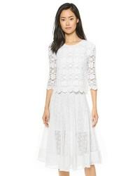 T-shirt à manche longue en dentelle blanc Rebecca Minkoff