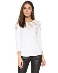 T-shirt à manche longue en dentelle blanc Rebecca Taylor
