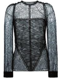T-shirt à manche longue en dentelle noir Givenchy
