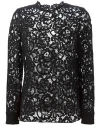 T-shirt à manche longue en dentelle noir Saint Laurent