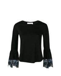 T-shirt à manche longue en dentelle noir See by Chloe