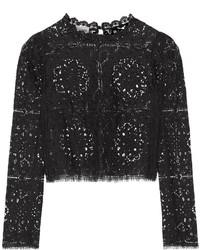 T-shirt à manche longue en dentelle noir Temperley London