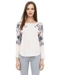 T-shirt à manche longue en soie à fleurs blanc