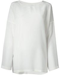 T-shirt à manche longue en soie blanc