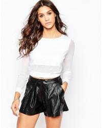 T-shirt à manche longue en tulle blanc