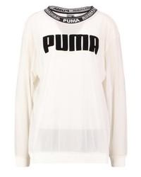 T-shirt à manche longue en tulle imprimé blanc Puma