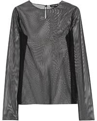 T-shirt à manche longue en tulle noir Tom Ford