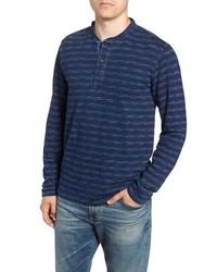 T-shirt à manche longue et col boutonné à rayures horizontales bleu marine