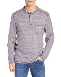 T-shirt à manche longue et col boutonné à rayures horizontales bleu
