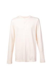 T-shirt à manche longue et col boutonné beige