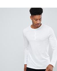 T-shirt à manche longue et col boutonné blanc ASOS DESIGN