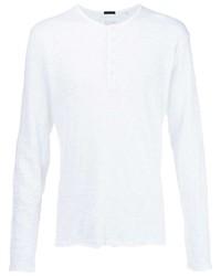 T-shirt à manche longue et col boutonné blanc ATM Anthony Thomas Melillo