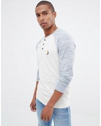 T-shirt à manche longue et col boutonné blanc Brave Soul