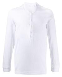 T-shirt à manche longue et col boutonné blanc Neil Barrett