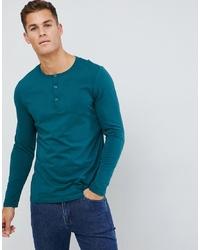 T-shirt à manche longue et col boutonné bleu canard ASOS DESIGN
