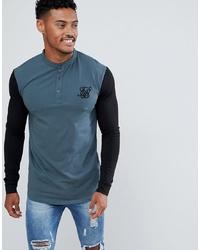 T-shirt à manche longue et col boutonné bleu canard Siksilk
