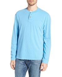 T-shirt à manche longue et col boutonné bleu clair