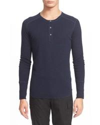 T-shirt à manche longue et col boutonné bleu marine
