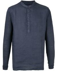 T-shirt à manche longue et col boutonné bleu marine 120% Lino
