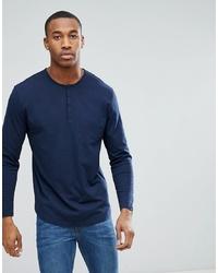 T-shirt à manche longue et col boutonné bleu marine ASOS DESIGN