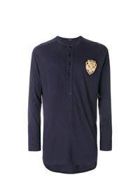 T-shirt à manche longue et col boutonné bleu marine Balmain
