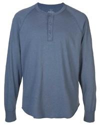 T-shirt à manche longue et col boutonné bleu marine SAVE KHAKI UNITED