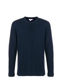 T-shirt à manche longue et col boutonné bleu marine Sunspel
