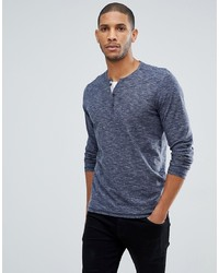 T-shirt à manche longue et col boutonné bleu marine Tom Tailor