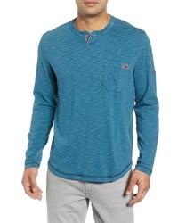 T-shirt à manche longue et col boutonné bleu