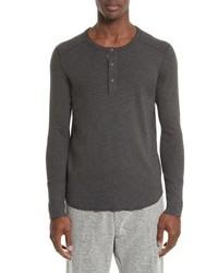 T-shirt à manche longue et col boutonné gris foncé