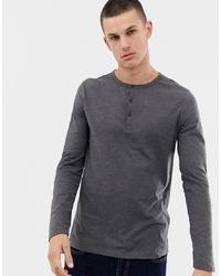 T-shirt à manche longue et col boutonné gris foncé ASOS DESIGN