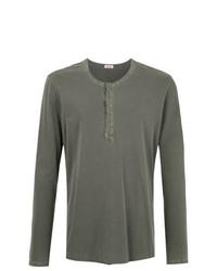 T-shirt à manche longue et col boutonné gris foncé OSKLEN