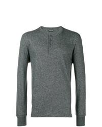 T-shirt à manche longue et col boutonné gris foncé Tom Ford