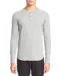 T-shirt à manche longue et col boutonné gris