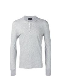 T-shirt à manche longue et col boutonné gris Tom Ford