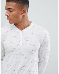 T-shirt à manche longue et col boutonné imprimé blanc ASOS DESIGN