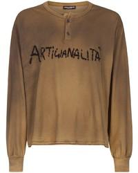 T-shirt à manche longue et col boutonné imprimé marron clair Dolce & Gabbana