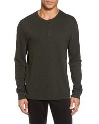 T-shirt à manche longue et col boutonné marron foncé