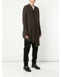 T-shirt à manche longue et col boutonné marron foncé Julius