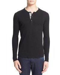 T-shirt à manche longue et col boutonné noir