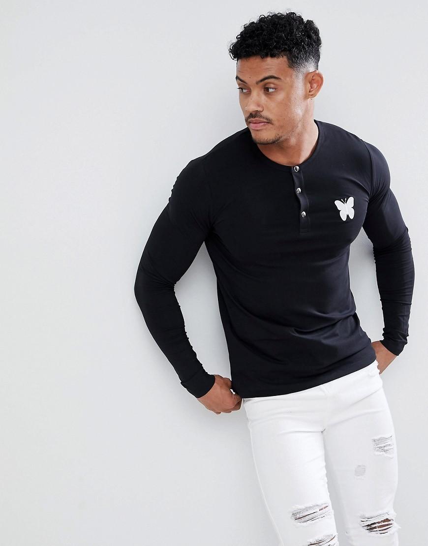 T-shirt à manche longue et col boutonné noir Good For Nothing