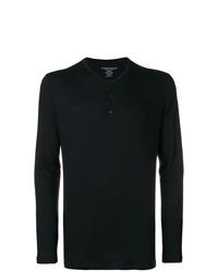 T-shirt à manche longue et col boutonné noir Majestic Filatures