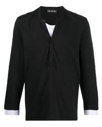 T-shirt à manche longue et col boutonné noir Neil Barrett
