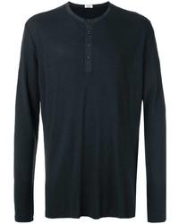 T-shirt à manche longue et col boutonné noir OSKLEN