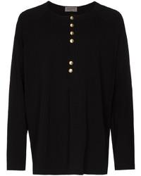 T-shirt à manche longue et col boutonné noir Yohji Yamamoto