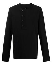 T-shirt à manche longue et col boutonné noir Ziggy Chen