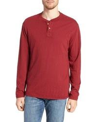 T-shirt à manche longue et col boutonné rouge