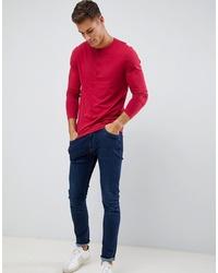 T-shirt à manche longue et col boutonné rouge ASOS DESIGN