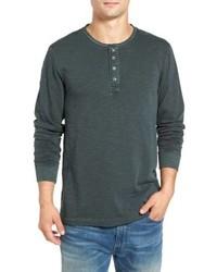 T-shirt à manche longue et col boutonné vert foncé